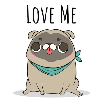 Dog pug sitting with lettering
