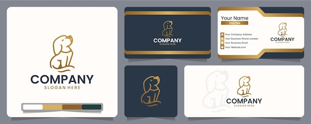 Dog , puppy , line art ,logo design and business card