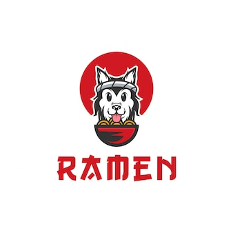 Dog ramen vector logo illustration