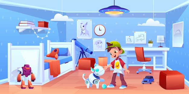 Dog robot and boy playing at home