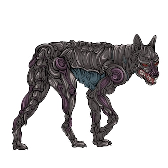 Dog robot in hand drawing