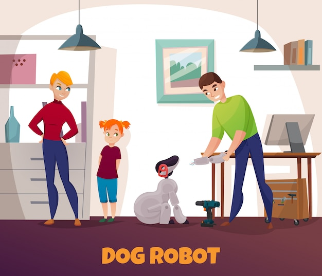 Dog robot repair with electronics and technology
