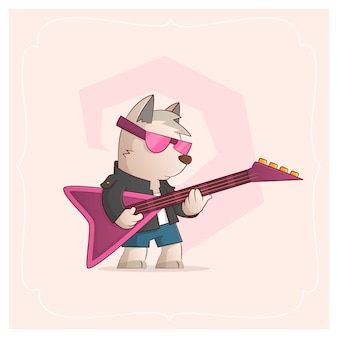 Dog rock musician. vector illustration from a series funny pets