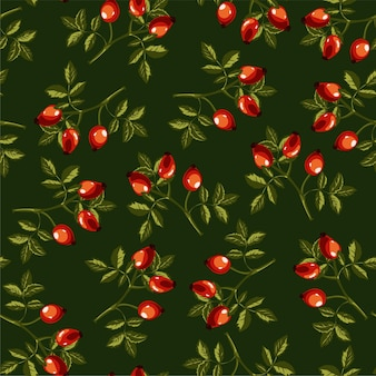Dog rose plant with leaves and berries, eglantine seamless pattern isolated on green