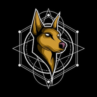 Dog sacred geometry logo Premium Vector