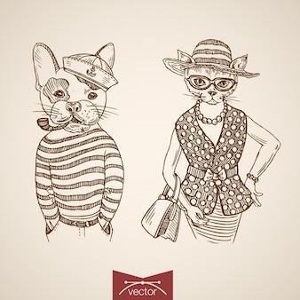 一重項財布タバコパイプメガネを身に着けている犬の船乗りの女性猫の肖像画の服のアクセサリー。