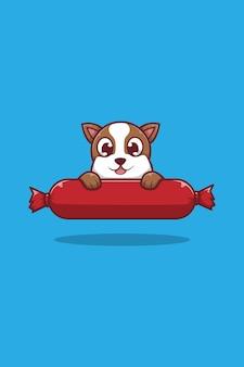Dog and sausage cartoon illustration