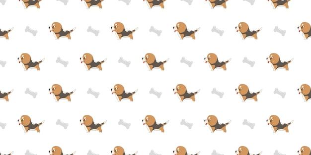 Собака бесшовные модели beagles и кости на белом фоне.