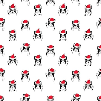 Dog seamless pattern christmas french bulldog santa claus
