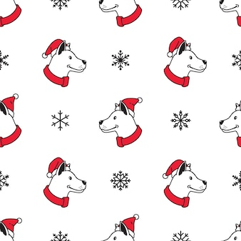 Dog seamless pattern christmas santa claus snowflake