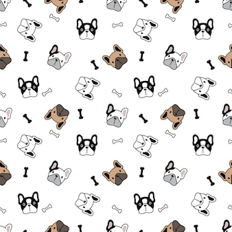 Dog seamless pattern french bulldog bone