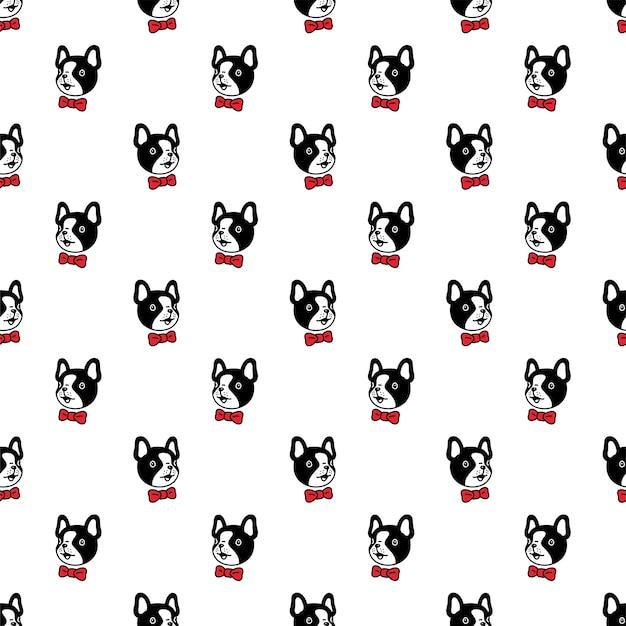 Dog seamless pattern french bulldog bow tie cartoon