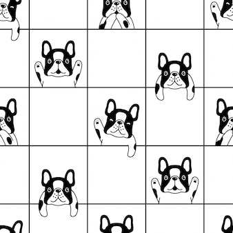 Dog seamless pattern french bulldog cartoon illustration