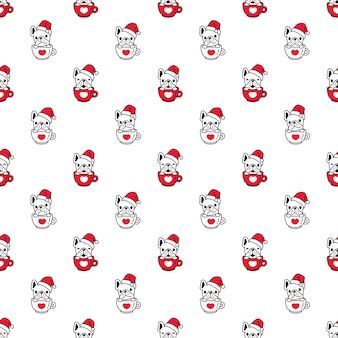 Dog seamless pattern french bulldog christmas santa claus coffee cup