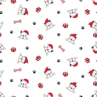 Dog seamless pattern french bulldog christmas santa claus gift box cartoon