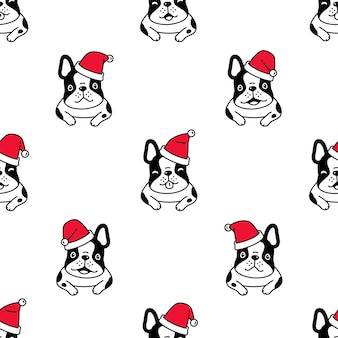 Dog seamless pattern french bulldog christmas santa claus hat