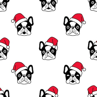 Dog seamless pattern french bulldog christmas santa claus head