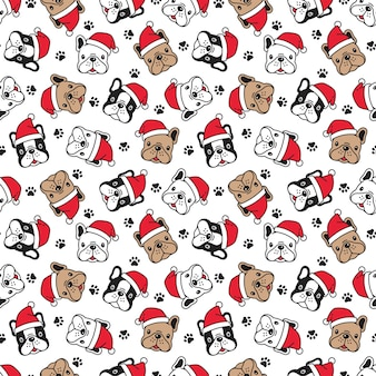 Dog seamless pattern french bulldog christmas santa claus paw cartoon illustration