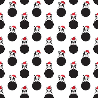 Dog seamless pattern french bulldog christmas santa claus polka dot cartoon