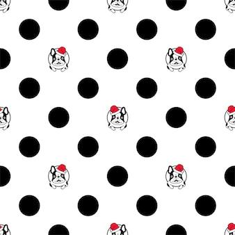 Dog seamless pattern french bulldog christmas santa claus polka dot cartoon