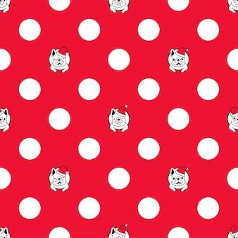 Dog seamless pattern french bulldog christmas santa claus polka dot
