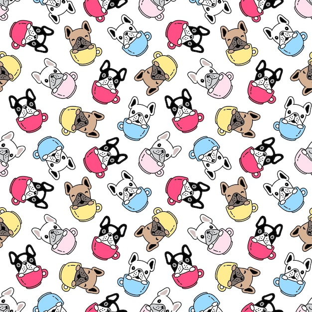 Dog seamless pattern french bulldog coffee cup cartoon illustration