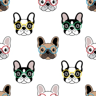 Dog seamless pattern french bulldog eyeglasses