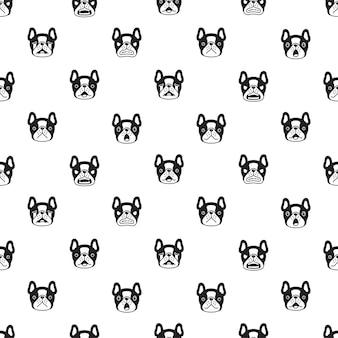 犬のシームレスなパターンフレンチブルドッグの顔の頭