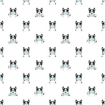 Dog seamless pattern french bulldog face mas