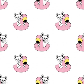 Dog seamless pattern french bulldog flamingo swimming ring