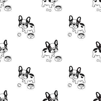 Dog seamless pattern french bulldog food bowl
