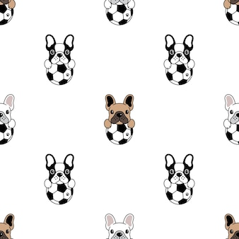 Dog seamless pattern french bulldog football soccer
