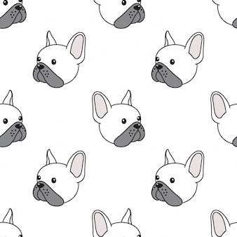 Dog seamless pattern french bulldog head illustration