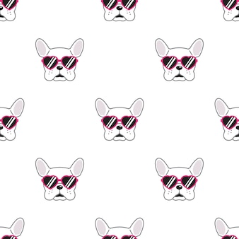 Dog seamless pattern french bulldog heart sunglasses