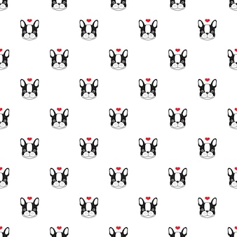 Dog seamless pattern french bulldog heart