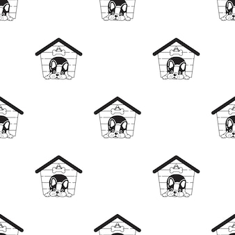 Dog seamless pattern french bulldog house
