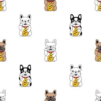 犬のシームレスなパターンフレンチブルドッグ日本幸運な猫