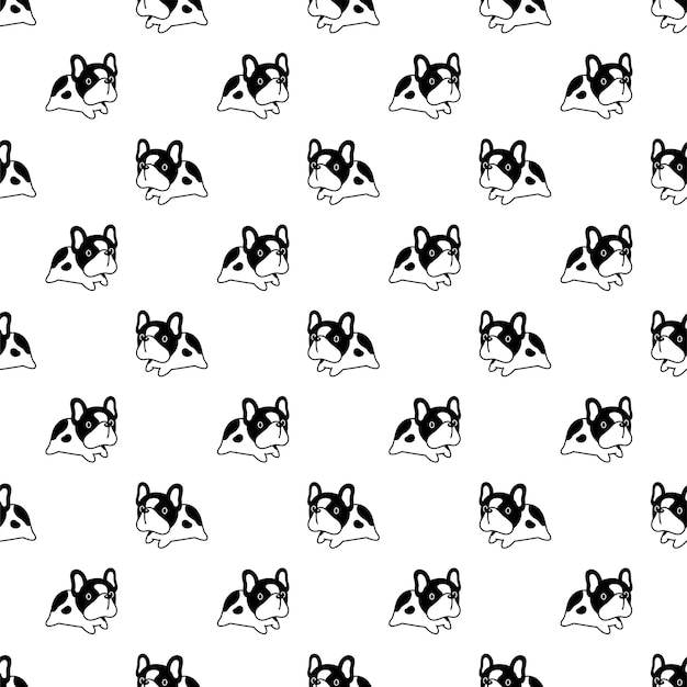 Dog seamless pattern french bulldog jumping cartoon
