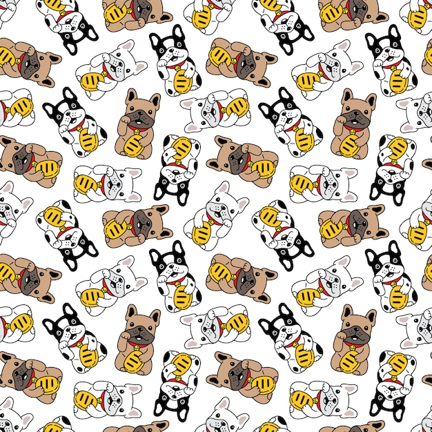 Dog seamless pattern french bulldog lucky cat maneki neko illustration cartoon