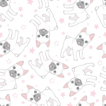 Dog seamless pattern french bulldog paw