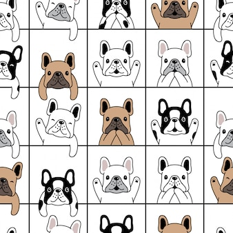 Dog seamless pattern french bulldog puppy cartoon illustration