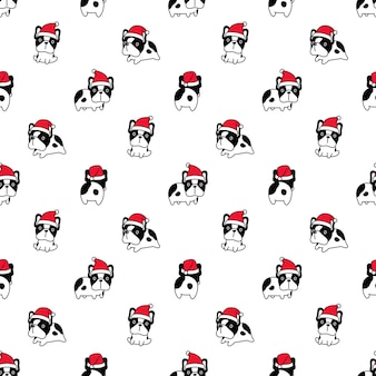 Dog seamless pattern french bulldog santa claus christmas