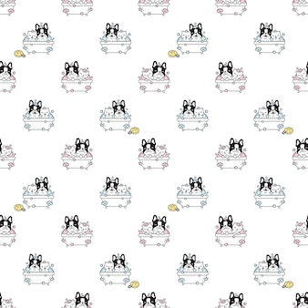犬のシームレスパターンフレンチブルドッグシャワーバス
