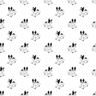 Dog seamless pattern french bulldog skateboard cartoon
