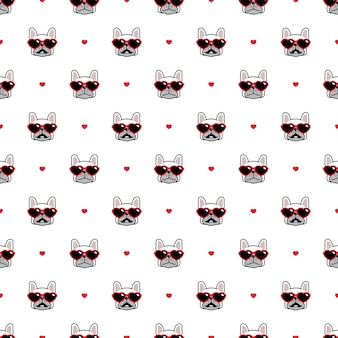 Dog seamless pattern french bulldog sunglasses heart valentine illustration cartoon