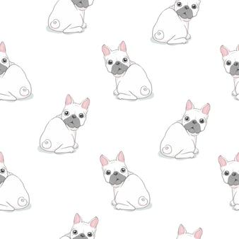 Dog seamless pattern french bulldog