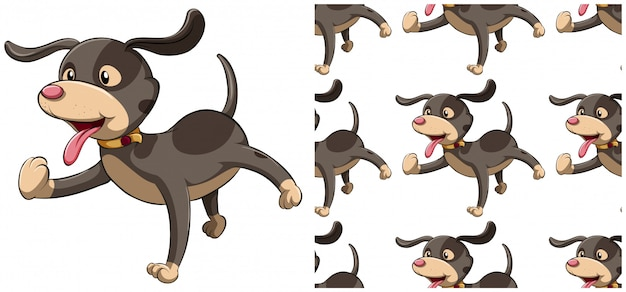 Dog seamless pattern isolated on white