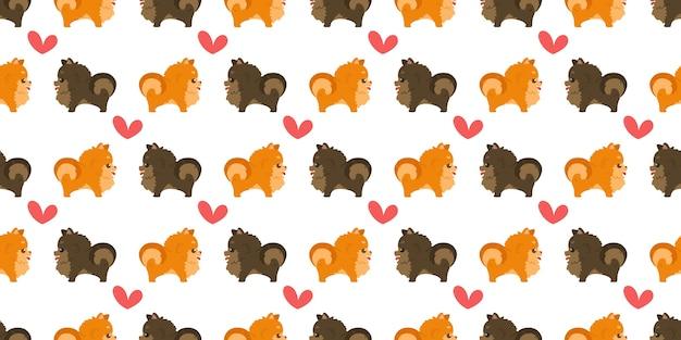 Dog seamless pattern pomeranians and hearts.