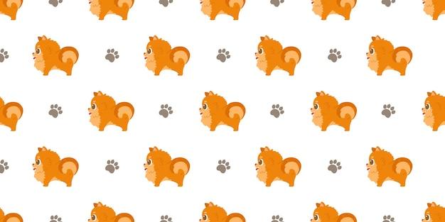 Dog seamless pattern pomeranians and paws.
