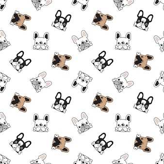 Dog seamless pattern puppy bone